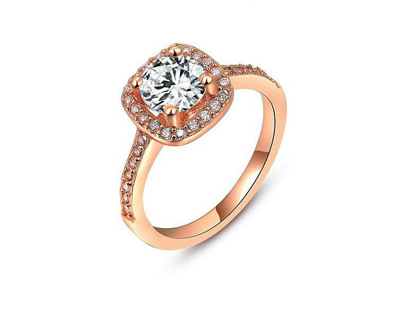 18K Rose Gold Plated Lily Ring with Simulated Diamond