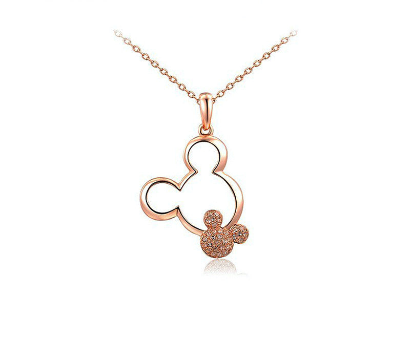 18K Rose Gold Plated Luna Necklace with Simulated Diamond