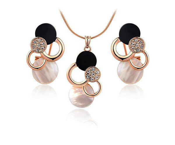 18K Rose Gold Plated Lydia Necklace and Earrings Set with Simulated Diamond