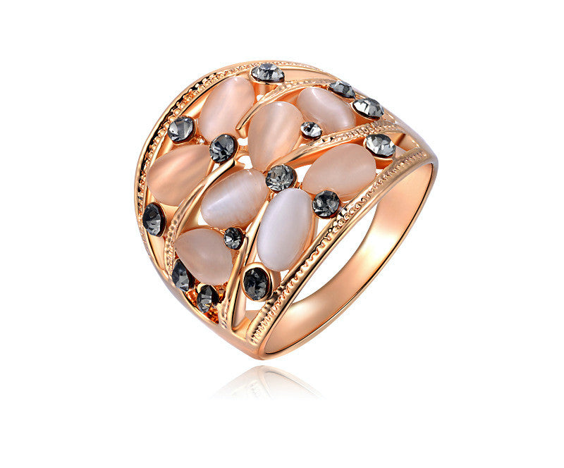 18K Rose Gold Plated Lyric Ring with Simulated Diamond