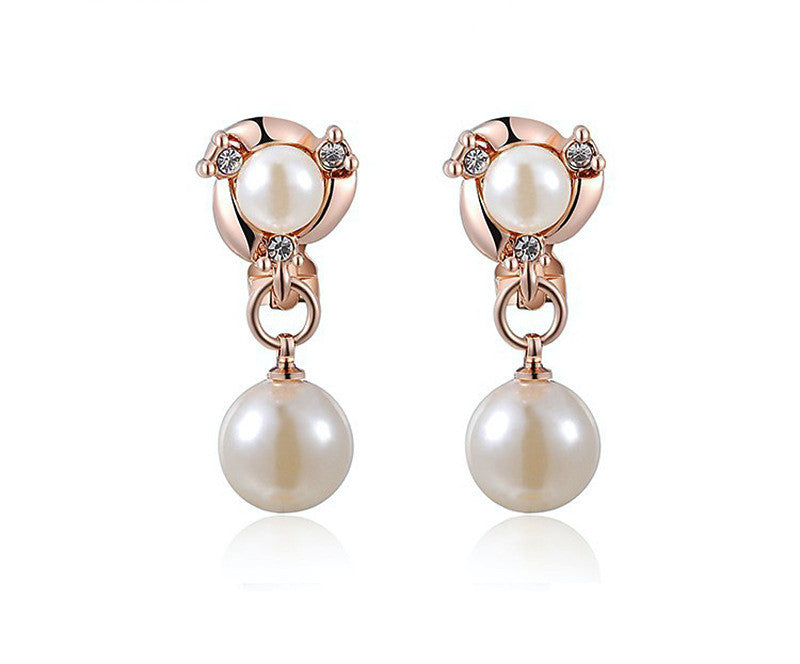 18K Rose Gold Plated Mackenzie Earrings with Simulated Diamond