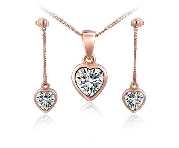 18K Rose Gold Plated Madeline Necklace and Earrings Set with Simulated Diamond