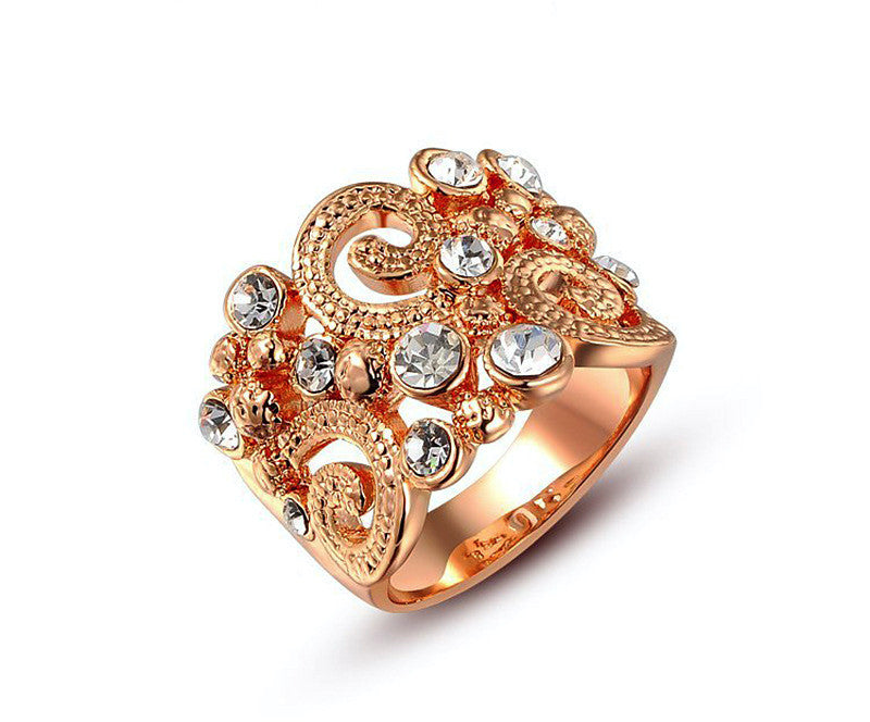 18K Rose Gold Plated Madilyn Ring with Simulated Diamond