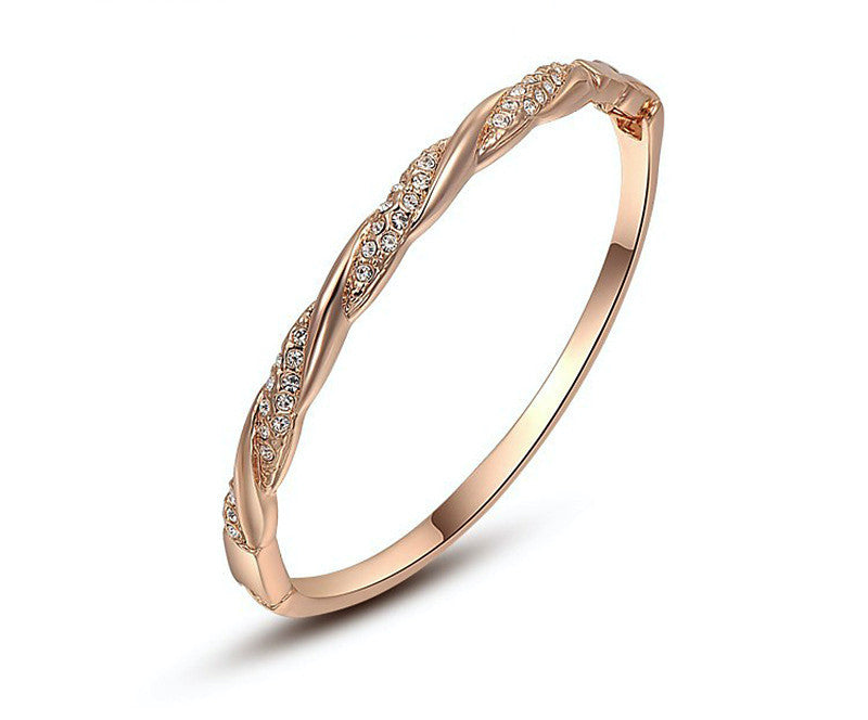 18K Rose Gold Plated Madison Bracelet with Simulated Diamond