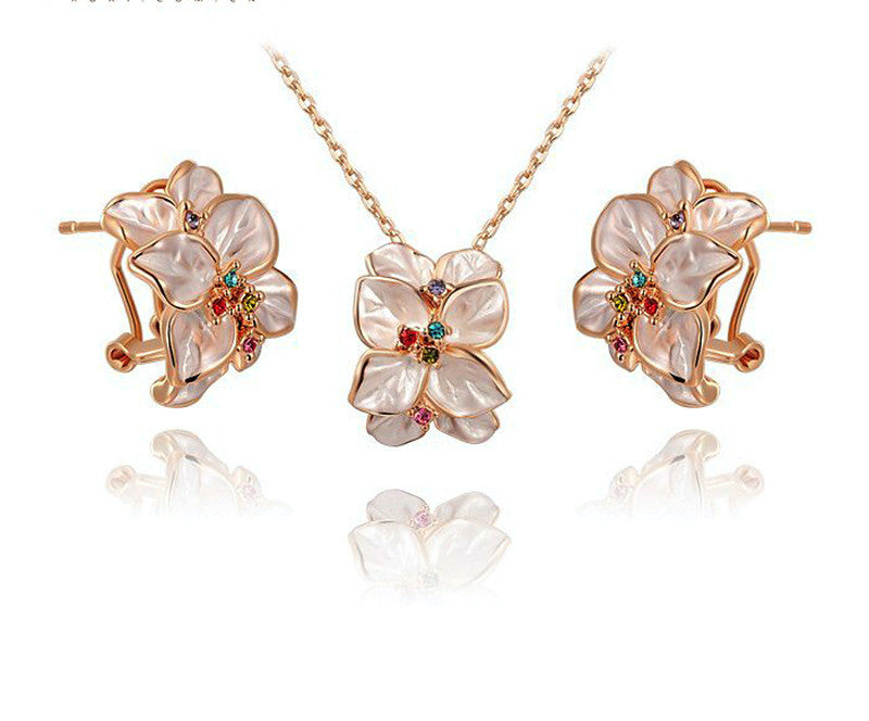 18K Rose Gold Plated Madison Necklace and Earrings Set with Simulated Diamond
