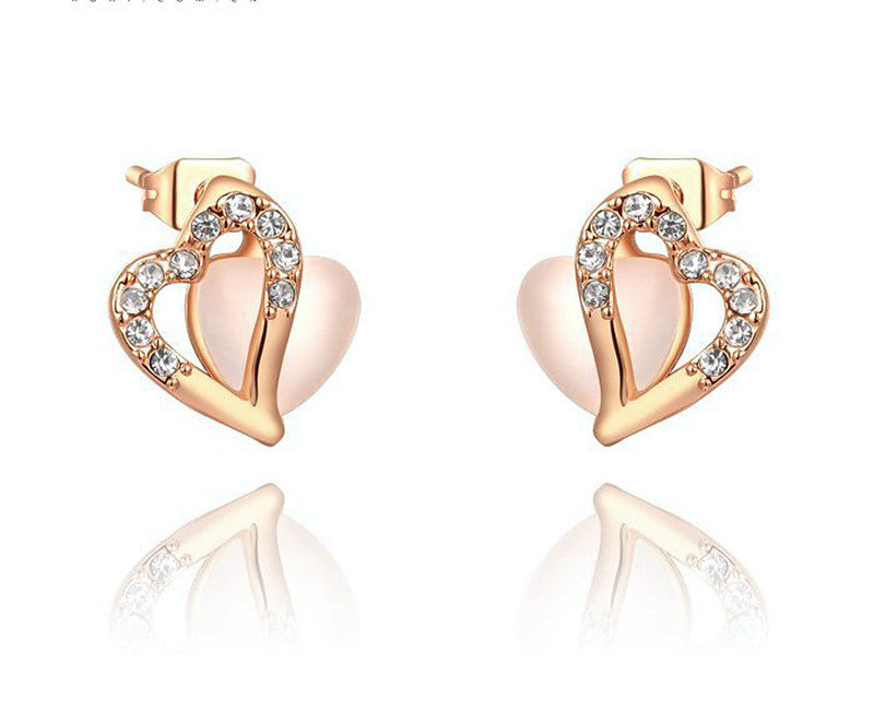 18K Rose Gold Plated Maria Earrings with Simulated Diamond