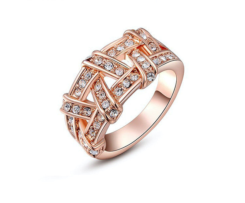 18K Rose Gold Plated Maria Ring with Simulated Diamond