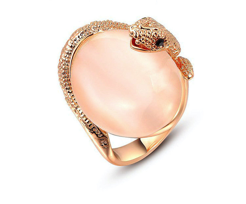 18K Rose Gold Plated Marley Ring with Simulated Diamond
