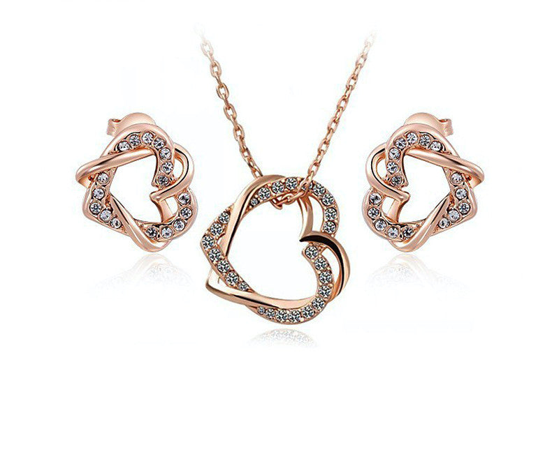 18K Rose Gold Plated Maya Necklace and Earrings Set with Simulated Diamond