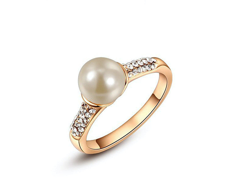 18K Rose Gold Plated Maya Ring with Simulated Diamond