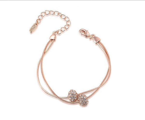 18K Rose Gold Plated Mia Bracelet with Simulated Diamond