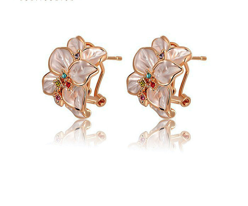 18K Rose Gold Plated Mia Earrings with Simulated Diamond