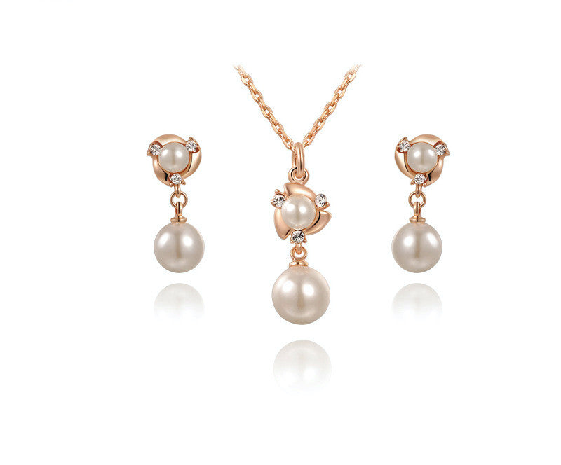 18K Rose Gold Plated Mia Necklace and Earrings Set with Simulated Diamond