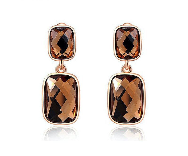 18K Rose Gold Plated Morgan Earrings with Simulated Diamond