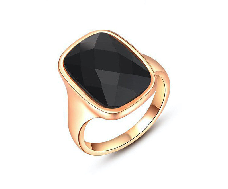 18K Rose Gold Plated Mya Ring with Simulated Diamond