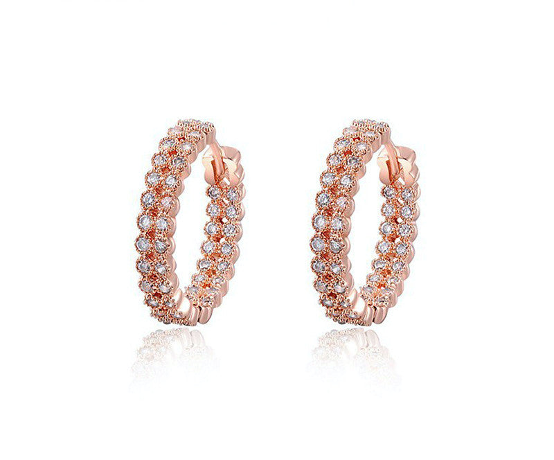 18K Rose Gold Plated Natalia Earrings with Simulated Diamond