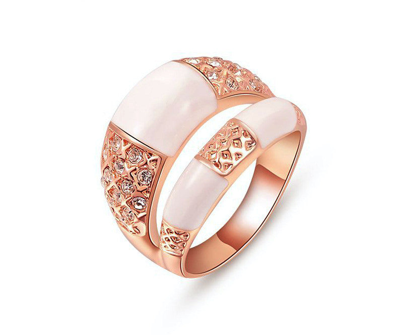 18K Rose Gold Plated Nevaeh Ring with Simulated Diamond