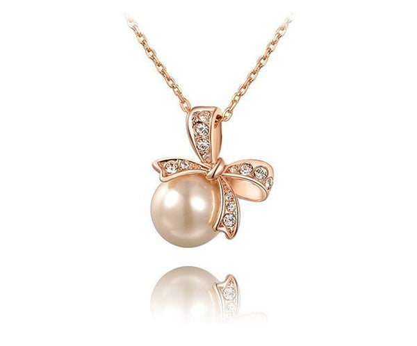 18K Rose Gold Plated Olivia Necklace with Simulated Diamond