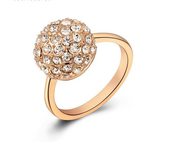 18K Rose Gold Plated Paisley Ring with Simulated Diamond