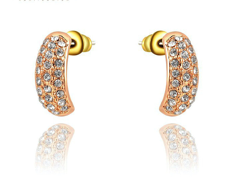 18K Rose Gold Plated Parker Earrings with Simulated Diamond