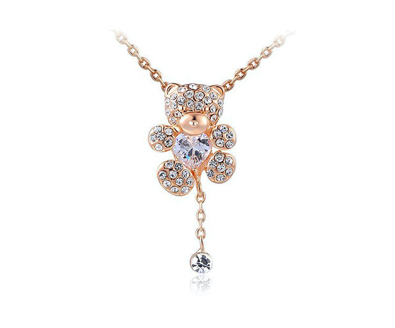 18K Rose Gold Plated Peyton Necklace with Simulated Diamond