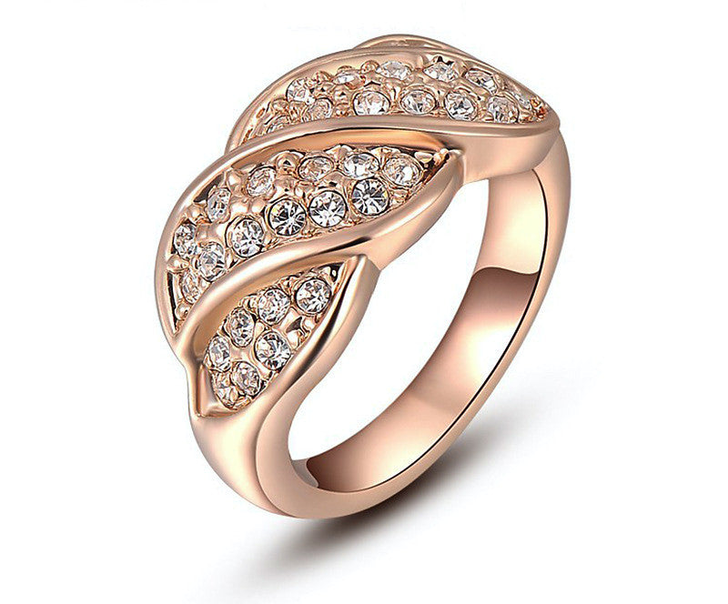 18K Rose Gold Plated Peyton Ring with Simulated Diamond