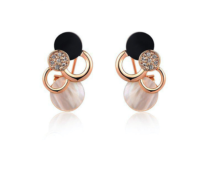 18K Rose Gold Plated Presley Earrings with Simulated Diamond