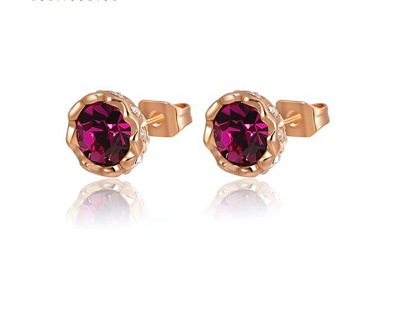 18K Rose Gold Plated Reese Earrings with Simulated Diamond
