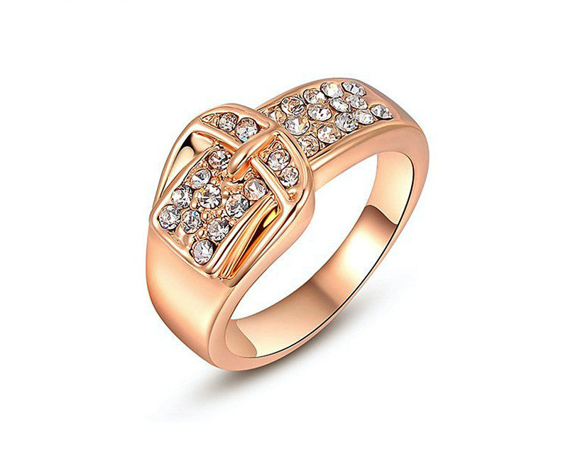 18K Rose Gold Plated Rose Ring with Simulated Diamond