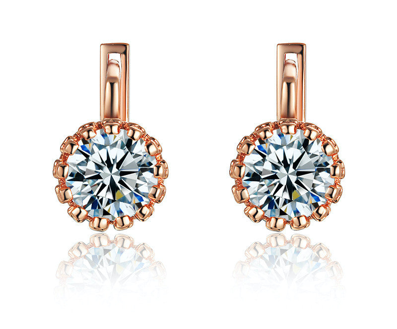 18K Rose Gold Plated Rowan Earrings with Simulated Diamond
