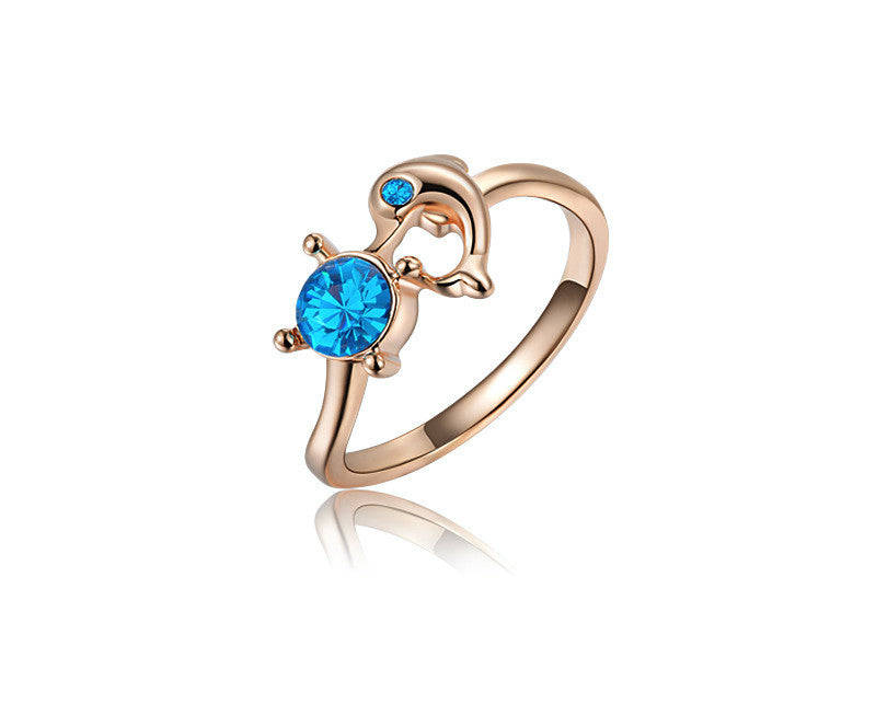18K Rose Gold Plated Sabrina Ring with Simulated Diamond