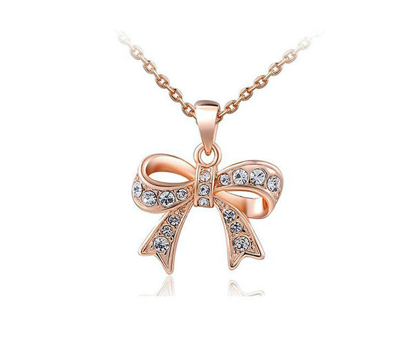 18K Rose Gold Plated Sadie Necklace with Simulated Diamond