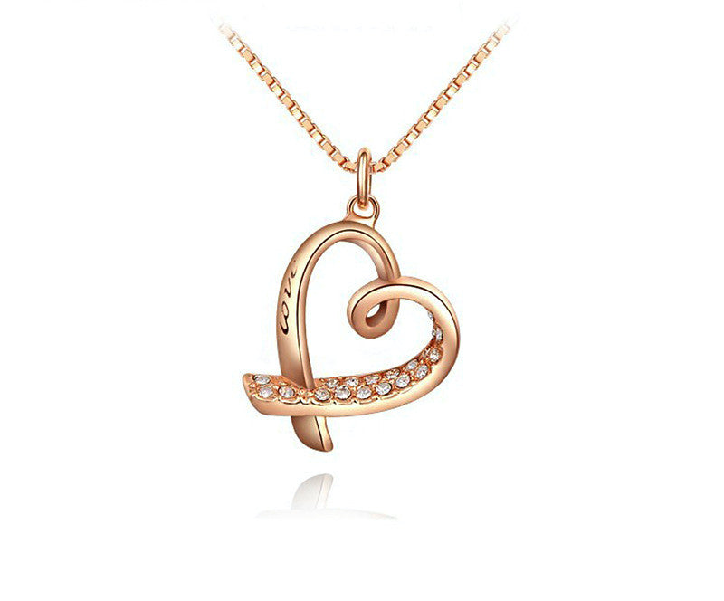 18K Rose Gold Plated Samantha Necklace with Simulated Diamond