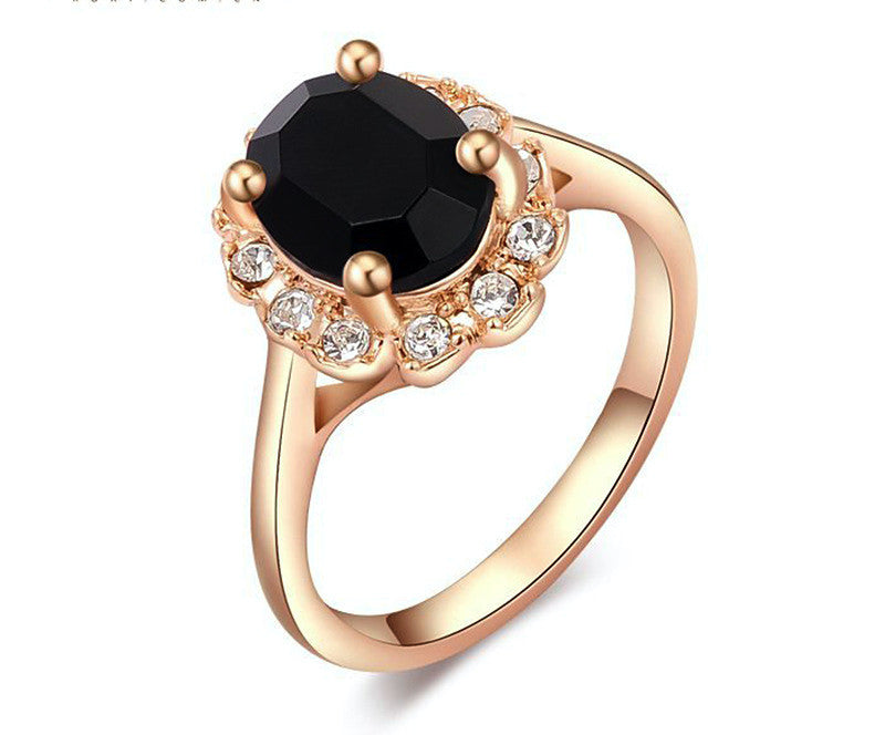 18K Rose Gold Plated Samantha Ring with Simulated Diamond