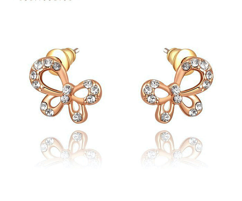 18K Rose Gold Plated Sarah Earrings with Simulated Diamond