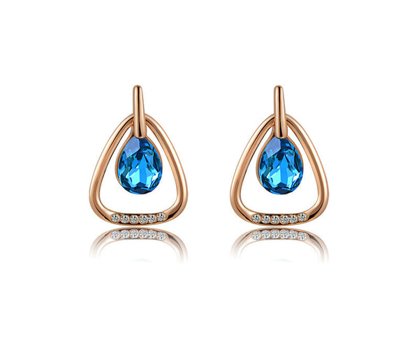 18K Rose Gold Plated Sarai Earrings with Simulated Diamond