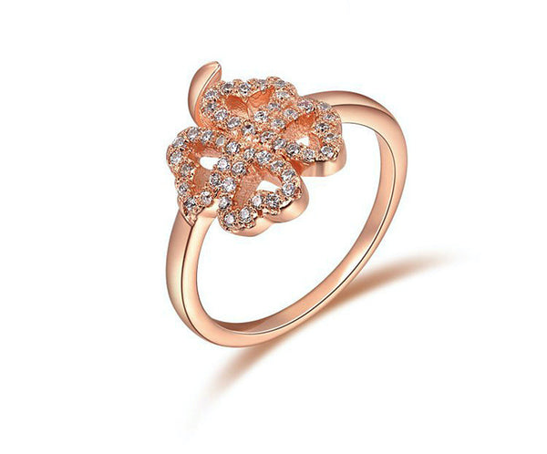 18K Rose Gold Plated Sarai Ring with Simulated Diamond