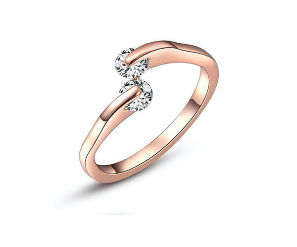 18K Rose Gold Plated Savannah Ring with Simulated Diamond