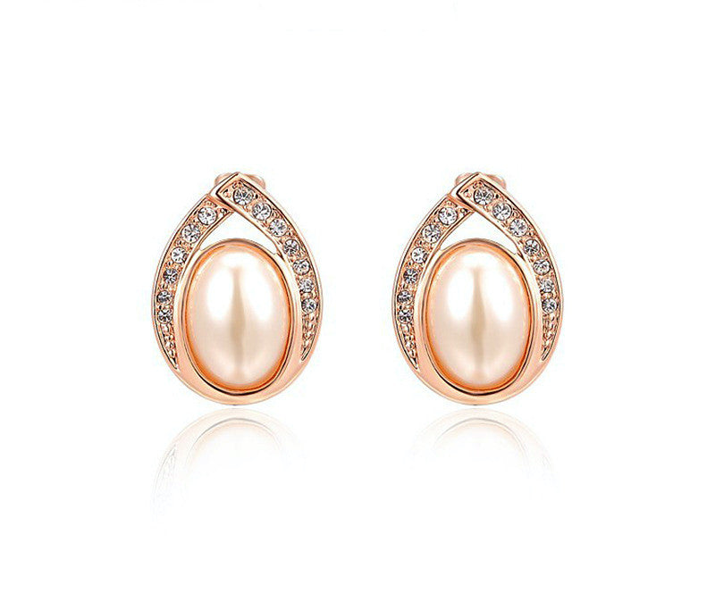 18K Rose Gold Plated Serena Earrings with Simulated Diamond