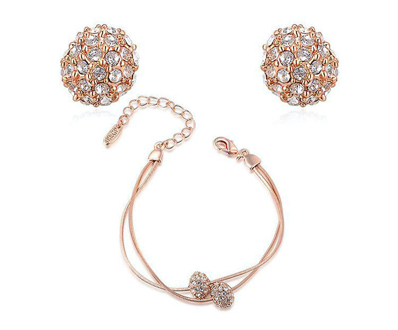 18K Rose Gold Plated Shelby Earrings and Bracelet Set with Simulated Diamond