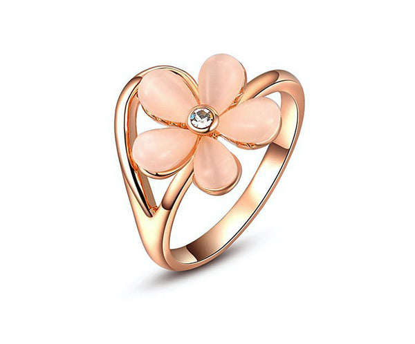 18K Rose Gold Plated Sierra Ring with Simulated Diamond