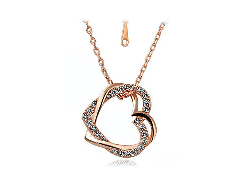18K Rose Gold Plated Sofia Necklace with Simulated Diamond