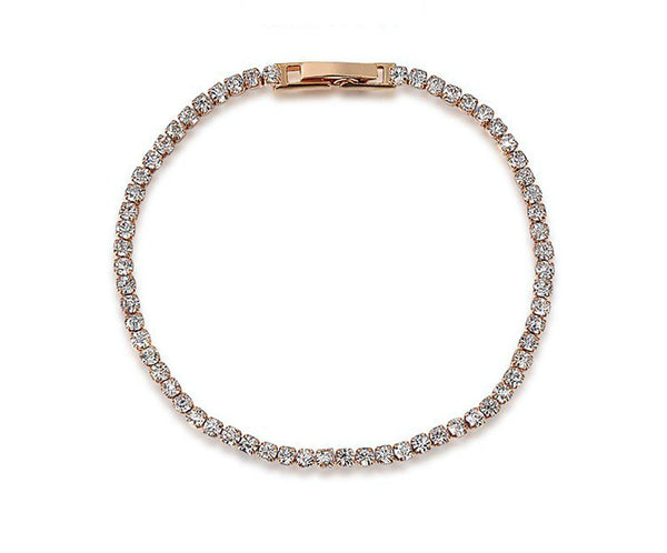 18K Rose Gold Plated Sophia Bracelet with Simulated Diamond