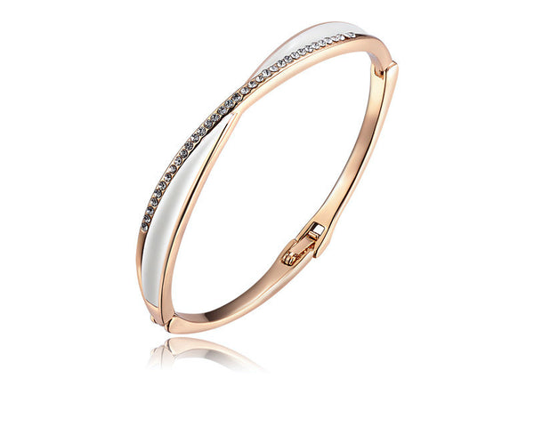 18K Rose Gold Plated Stella Bracelet with Simulated Diamond