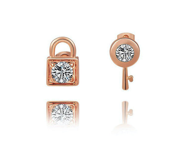 18K Rose Gold Plated Taylor Earrings with Simulated Diamond