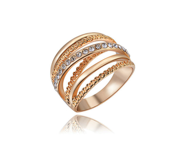 18K Rose Gold Plated Valentina Ring with Simulated Diamond