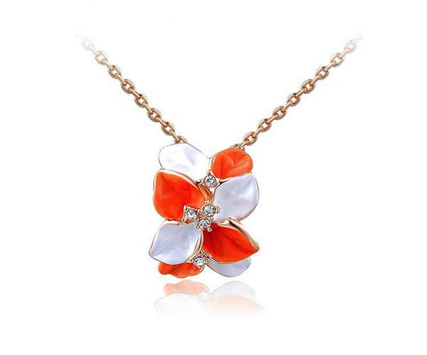 18K Rose Gold Plated Valeria Necklace with Simulated Diamond