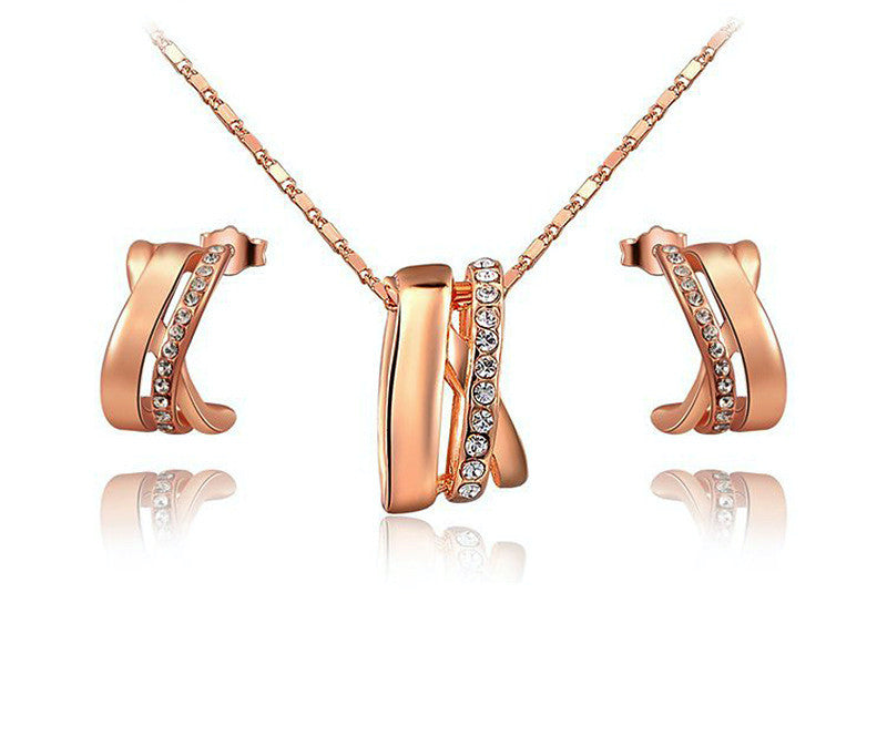 18K Rose Gold Plated Valerie Necklace and Earrings Set with Simulated Diamond