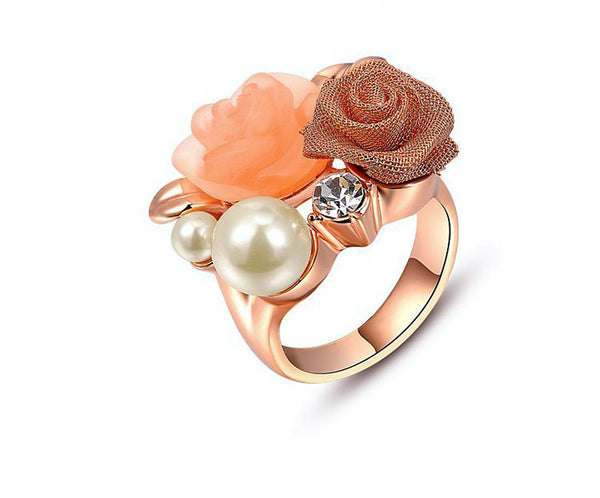 18K Rose Gold Plated Valerie Ring with Simulated Diamond