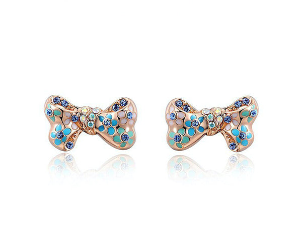 18K Rose Gold Plated Veronica Earrings with Simulated Diamond